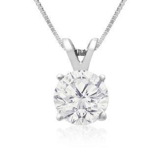 1ct Diamond Solitaire Pendant in 14k White Gold