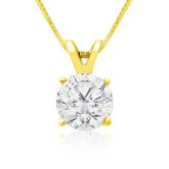 1.00ct 14k Yellow Gold Diamond Pendant, 2 Stars