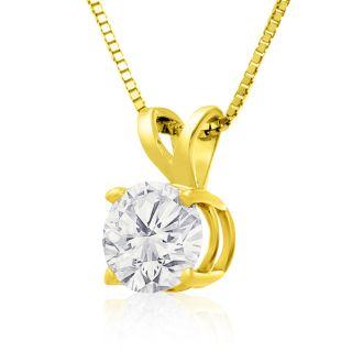 1.50ct 14k Yellow Gold Diamond Pendant, 2 Stars