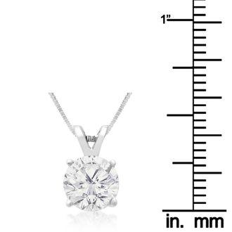 1.50ct 14k White Gold Diamond Pendant, 4 stars