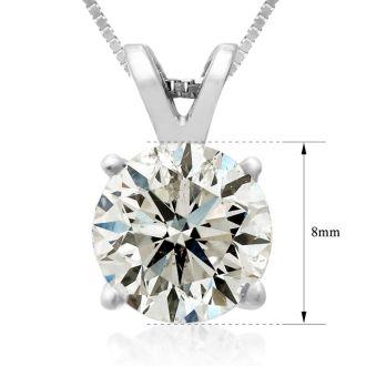 2.00ct 14k White Gold Diamond Pendant, 2 Stars