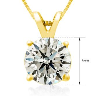 2.00ct 14k Yellow Gold Diamond Pendant