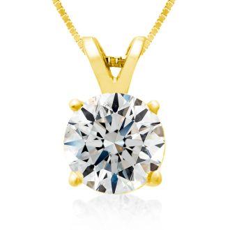 Fine 2.00ct 14k Yellow Gold Diamond Pendant, Lowest Price Ever.