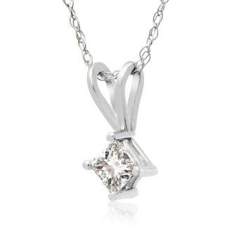 1/5ct Princess Diamond Pendant in 14k White Gold