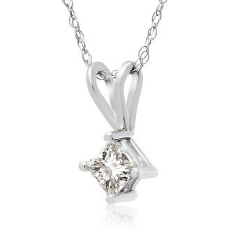 1/4ct 14k White Gold Princess Diamond Pendant