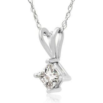 1/3ct 14k White Gold Princess Diamond Pendant, Sale Priced.