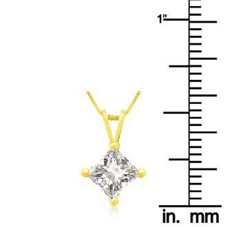 .85ct 14k Yellow Gold Princess Diamond Pendant