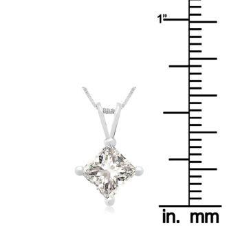 1.00ct 14k White Gold Princess Diamond Pendant
