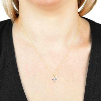 1.00ct 14k Yellow Gold Princess Diamond Pendant