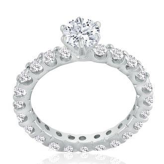 1.65ct Diamond White Gold Eternity Bridal Engagement Ring, Ring Sizes 4 to 9.5
