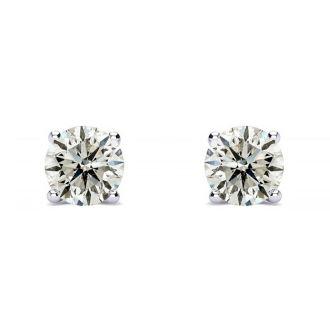 1 Carat Diamond Stud Earrings In Platinum