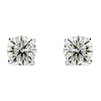 1 1/2 Carat Diamond Stud Earrings In Platinum