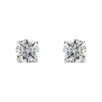 1/3 Carat Round Diamond Stud Earrings In Platinum
