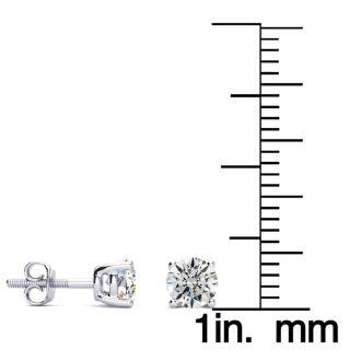 3/4 Carat Round Diamond Stud Earrings In Platinum