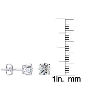 1 3/4 Carat Round Diamond Stud Earrings In Platinum