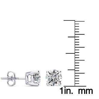 2 Carat Round Diamond Stud Earrings In Platinum