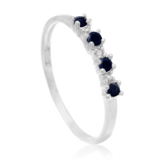 Dainty 1/2ct Blue Sapphire and Diamond Ring in Sterling Silver