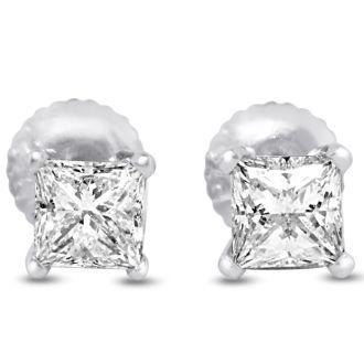 2ct Fine Quality Princess Diamond Stud Earrings In Platinum