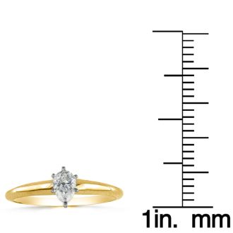 1/4 Carat Pear Shape Diamond Solitaire Ring In 14K Yellow Gold