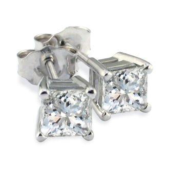 Platinum 1ct Princess Cut Diamond Stud Earrings, Fine SI Quality