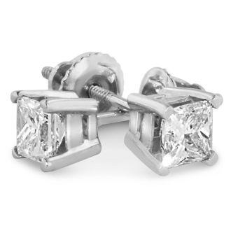 1 3/4ct Fine Quality Princess Diamond Stud Earrings In Platinum