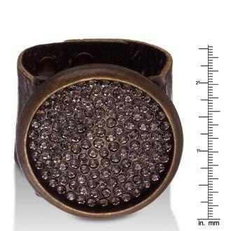 Swarovski Elements Studded Disc Bracelet In Genuine Leather, Fits Wrist Sizes 6-7