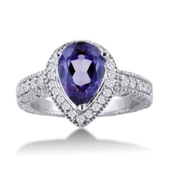 1 1/2ct Pear Shape Amethyst and Diamond Ring Crafted In Solid 14K White Gold