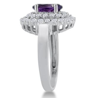 2 1/2ct Oval Amethyst and Diamond Ring Crafted In Solid 14K White Gold