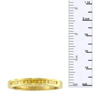 1/4 Carat Princess Cut Yellow Diamond Wedding Band in 18K Gold Overlay