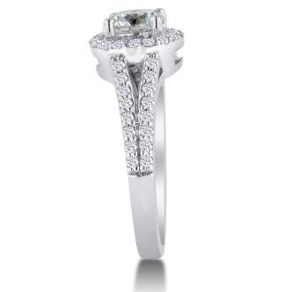1 3/8 Carat Round Diamond Halo Engagement Ring In 14K White Gold