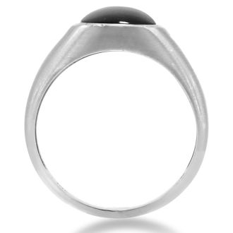Cabochon Black Onyx and Diamond Men's Ring Crafted In Solid 14K White Gold