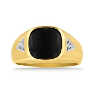Cabochon Black Onyx and Diamond Men's Ring Crafted In Solid 14K Yellow Gold