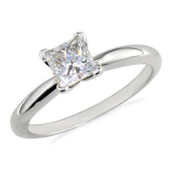 1/2 Carat Princess Diamond Solitaire Engagement Ring In Platinum