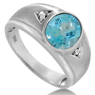 2 1/2ct Oval Blue Topaz and Diamond Men's Ring Crafted In Solid White Gold