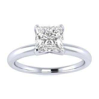 3/4 Carat Princess Diamond Solitaire Engagement Ring In Platinum