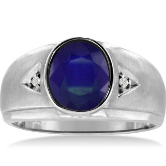 2 1/2ct Oval Created Sapphire and Diamond Men's Ring Crafted In Solid 14K White Gold