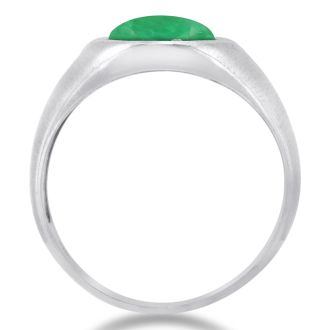 4 1/2ct Cabochon Cut Created Emerald and Diamond Men's Ring Crafted In Solid 14K White Gold