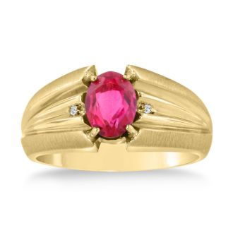 1 1/2ct Oval Created Ruby and Diamond Men's Ring Crafted In Solid Yellow Gold