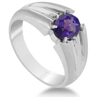 1 1/2ct Oval Amethyst and Diamond Men's Ring Crafted In Solid White Gold