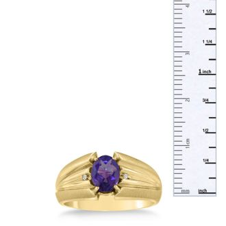 1 1/2ct Oval Amethyst and Diamond Men's Ring Crafted In Solid 14K Yellow Gold