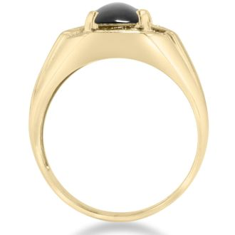 Black Onyx and Diamond Men's Ring Crafted In Solid Yellow Gold