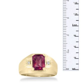 2 1/4ct Created Ruby and Diamond Men's Ring Crafted In Solid 14K Yellow Gold