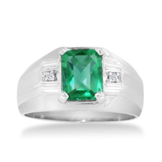 2 1/4ct Created Emerald and Diamond Men's Ring Crafted In Solid White Gold