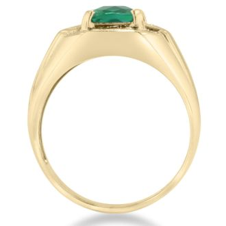 2 1/4ct Created Emerald and Diamond Men's Ring Crafted In Solid Yellow Gold