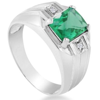 2 1/4ct Created Emerald and Diamond Men's Ring Crafted In Solid 14K White Gold