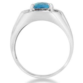 2 1/4ct Blue Topaz and Diamond Men's Ring Crafted In Solid 14K White Gold