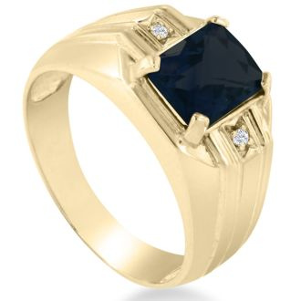 2 1/4ct Created Sapphire and Diamond Men's Ring Crafted In Solid Yellow Gold