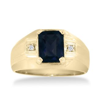 2 1/4ct Created Sapphire and Diamond Men's Ring Crafted In Solid 14K Yellow Gold