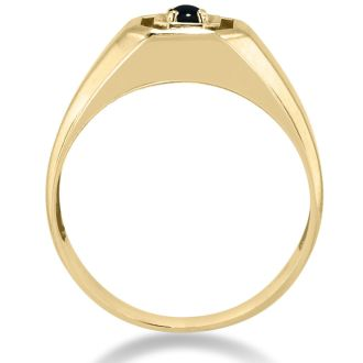 Oval Black Onyx Men's Ring Crafted In Solid 14K Yellow Gold