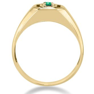1/4ct Oval Created Emerald Men's Ring Crafted In Solid Yellow Gold